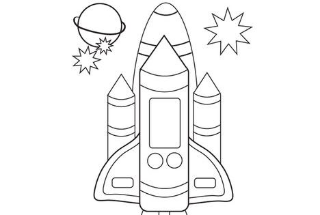 Space Shuttle Coloring Page TwistyNoodle
