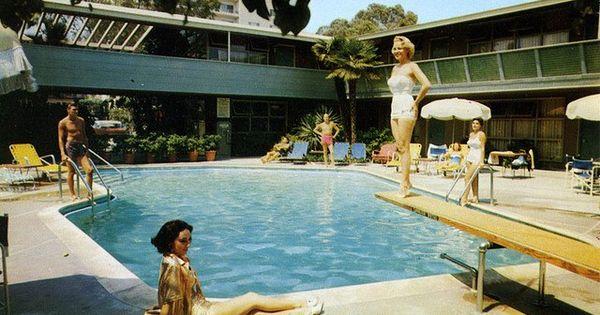 Cavalier hotel on wilshire blvd retro pool pics pinterest vintage postcards hotel pool for Swimming pool supplies los angeles