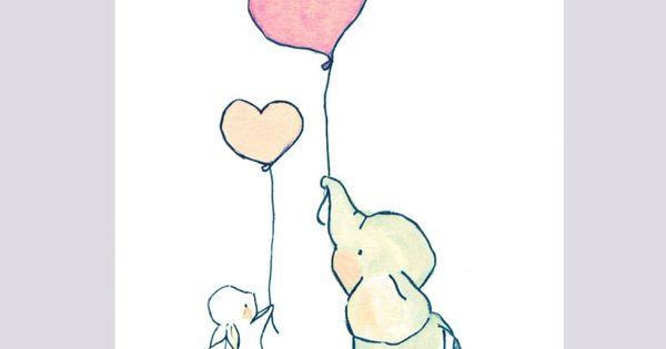 cute kawaii elephant and bunny rabbit balloon heart anime