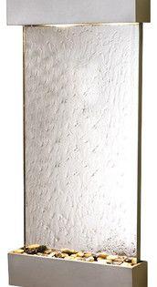 Whispering Creek Wall Fountain With Silver Metallic Trim And Silver Mirror Contemporar Contemporary Indoor Fountains Indoor Fountains Wall Fountain