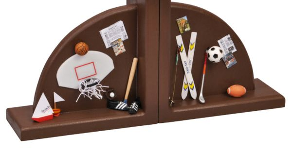 Boys Handpainted Brown Wooden Sports Bookends Customer