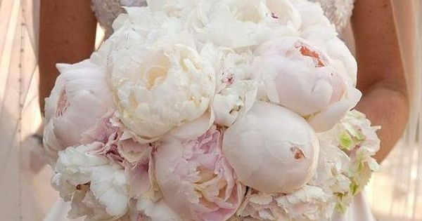 Lush Bridal Bouquet With White Peonies, & Barely Pink Peonies, A Classic