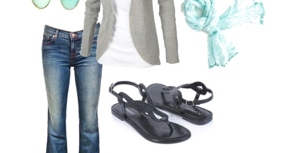 Love the soft aqua scarf with the gray. Very casual. Heels or