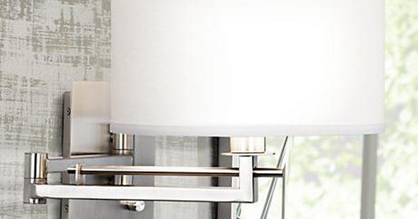 Possini Euro Aluno Plug In Style Swing Arm Wall Lamp M9450 Lamps Plus Swing Arm Wall Lamps Swing Arm Wall Light White Light Fixture