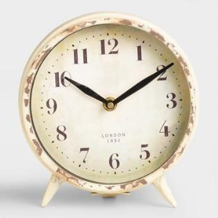 Small Ivory Charlie Clock Clock Unique Clocks White Clocks