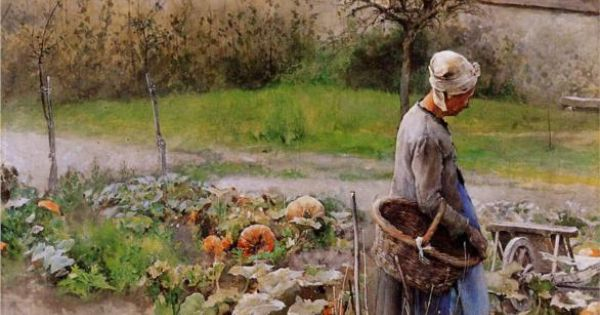 October (aka The Pumpkins), watercolor, 1883 | Carl Larsson