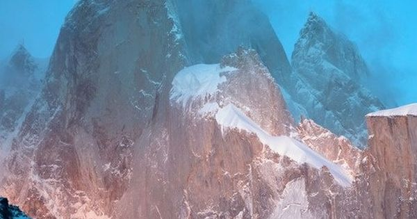 Morning light hits the 5-face of Cerro Torre, a Southern Patagonian Ice