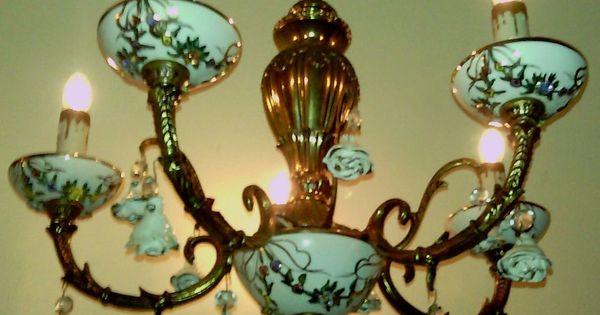 Vintage Capodimonte Italy Porcelain Brass Chandelier 5