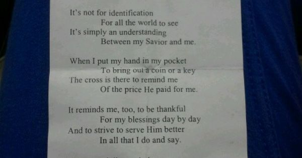 The cross in my pocket poem cute crafts pinterest for Cross in my pocket craft