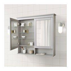 Hemnes Mirror Cabinet With 2 Doors Gray 55 1 8x38 5 8 Ikea Mirror Cabinets Ikea Hemnes Mirror Trendy Bathroom