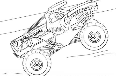 El Toro Loco Monster Truck Kleurplaat Kleurboek Gratis Kleurplaten Monster Truck