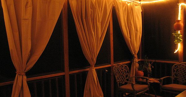 Drop Cloth Curtain Tutorial For The Screened In Patio Canvas Curtains Copper Tubing And Rope