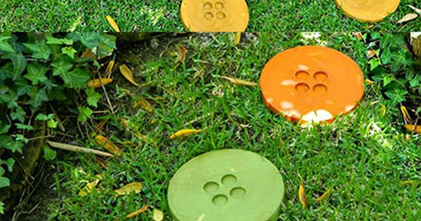 DIY Button Stepping Stones for Your Garden garden path