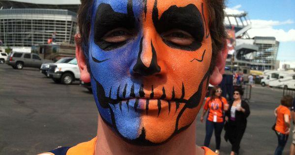 Denver Broncos Skull Face Painting For The Big Game Nfl