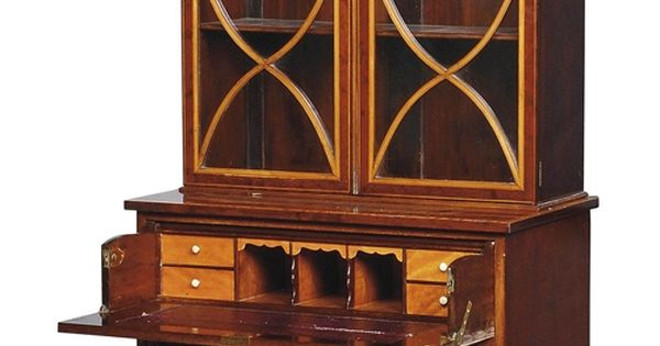 A mahogany and satinwood marquetry secretaire bookcase of