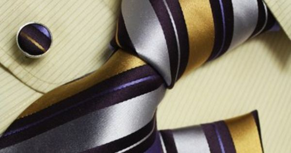 Cool tie - Purple stripes men neck ties gold stripes