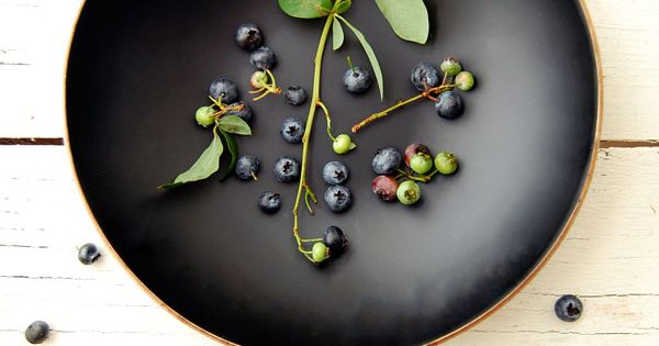 Berries in black bowl