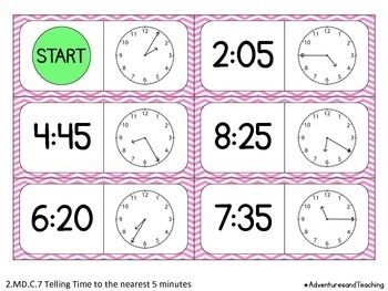 Telling Time to the Nearest 5 Minutes Dominoes Matching Game