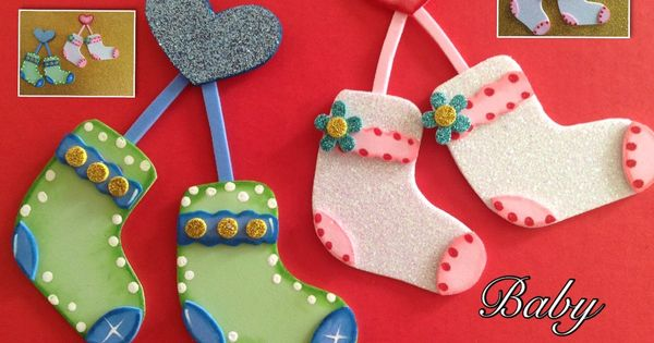 Calcetines de bebe para baby shower hechos con foamy for Manualidades decoracion bebe