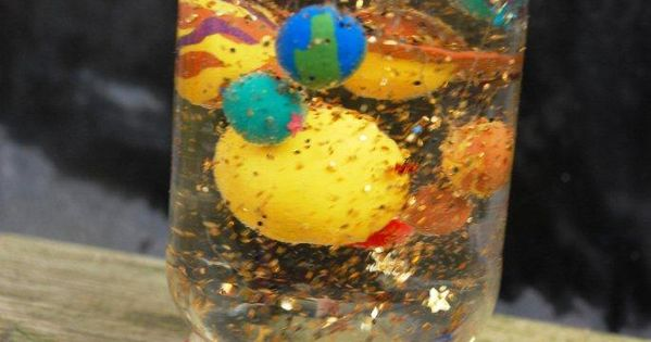 Solar System Glitter Globe...or could do some kind of glittery / snow globe things