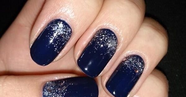 adorable blue nail with silver sparkles midnight blue