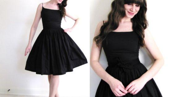 50s Black Dress / 50s Dress / 1950s Dress by Coldfish on