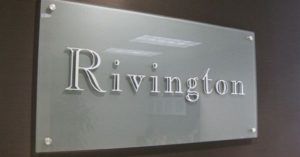 Classic Etched Glass Office Sign With Brushed Aluminum Letters For Rivington Capital Advisors Houston Tx Glass Office Office Signs Acrylic Sign