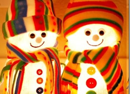 Cute Fishbowl Snowmen!.... Each Made with 2 Fish Bowls ,a String of
