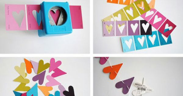 Paper punch heart garland - from paint samples! craft diy