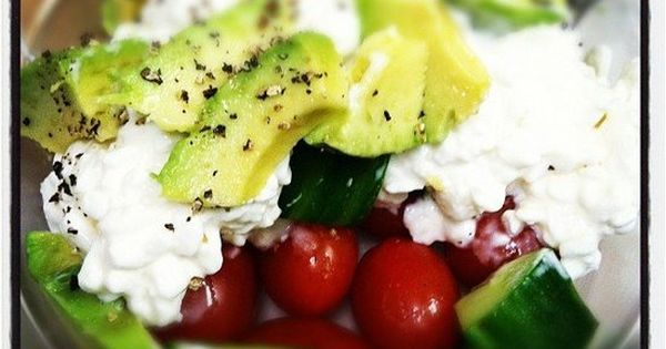 Cottage cheese, avocado, cucumber, grape tomatoes, and cracked black pepper. Perefct for