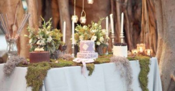 Cake table - fairytale wedding reception. Enchanted Garden Wedding. The Marie Selby