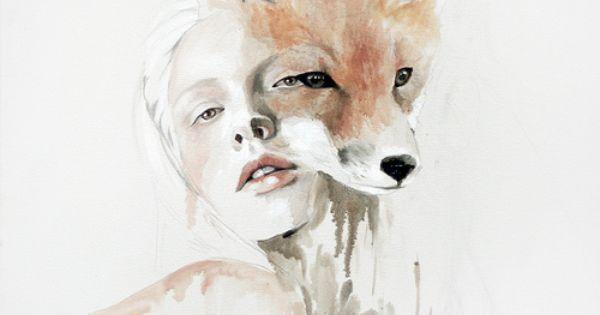 fox Art Print by Jen Mann