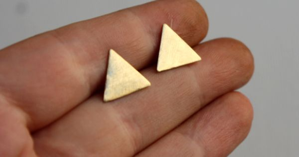 Brass Triangle Stud earrings - cute