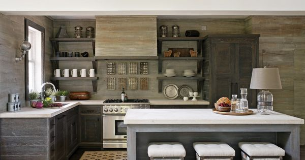 gray kitchen - walls, cabinets, and island in light-dark shades of gray
