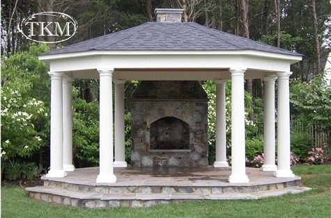 Gazebo With Stone Floor And Fireplace Patio Gazebo Gazebo Outdoor Fireplace