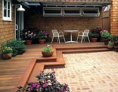 Image Result For Wood Deck And Stone Patio Combination Decks Backyard Backyard Patio Patio