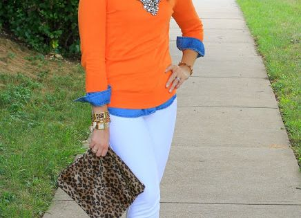 Cute outfit - white jeans, chambray shirt under an orange sweater with