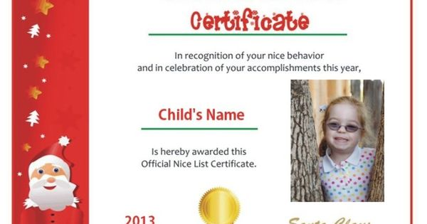 ... Santa letter with photo Nice List certificate | Photos, Nice and