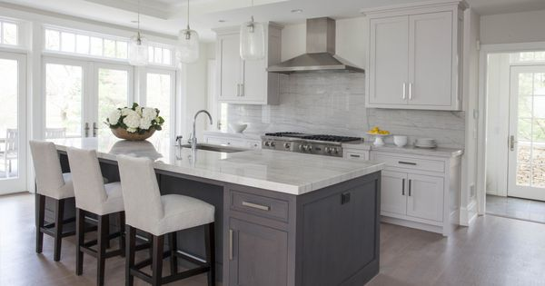 White Kitchen Grey Island Home Pinterest Gray Island Kitchen Grey And White Kitchens