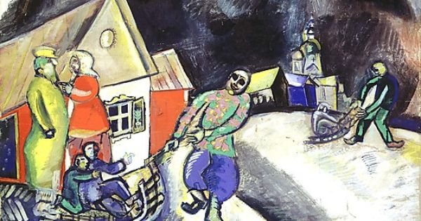 Snow winter in vitebsk 1911 marc chagall french for Chagall st paul de vence