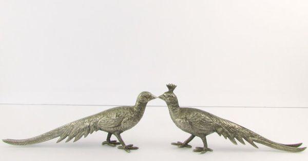 Vintage Pair Silver Pheasants Peacock Place Card Holders