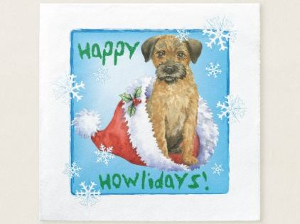 Christmas Border Terrier Napkins Zazzle Com Border Terrier Christmas Border Christmas Party Supplies