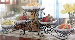 New 3 Tier Buffet Server 5 Stoneware Serving Dishes Wrought Iron
