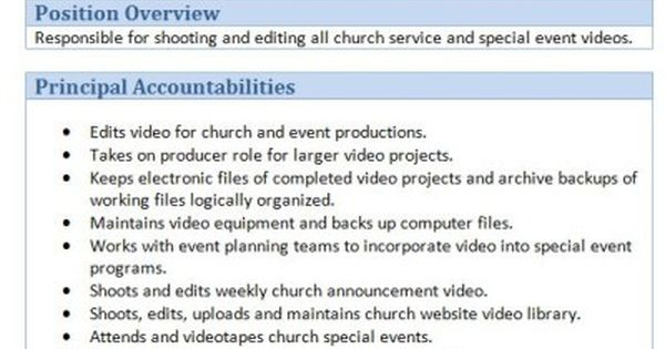 Free Downloadable Sample Church Job Descriptions
