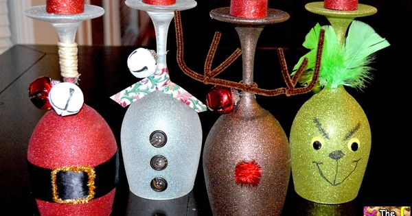 Christmas Wine Glasses- made with dollar store wine glasses
