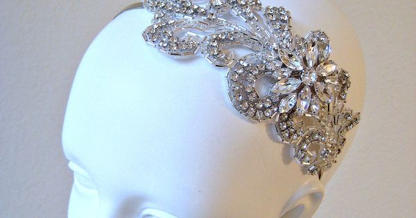 CRYSTAL LEAF. vintage style crystal beaded headpiece with marquise jewel piece from