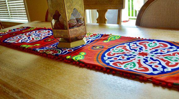 Khayameya Red Table Runner Ramadan Table Runner Ramadan Decoration With Pompoms In 2021 Ramadan Decorations Table Runners Red Table