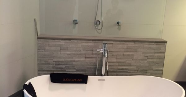 Vrijstaand bad met muurtje badkamer pinterest bathroom inspiration saunas and bath room - Badkamer muur tegels porcelanosa ...