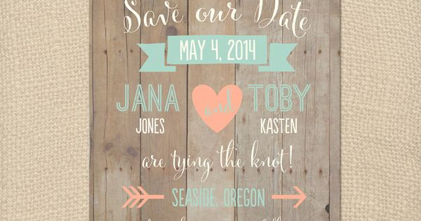 Omg I love these!!!!!Whimsical Rustic Wood Mint and Peach Save the Date