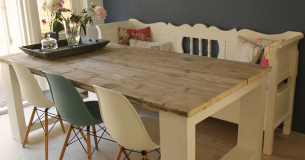 Idee voor een eettafel van steigerhout creating our home pinterest mood boards - Idee deco eettafel ...